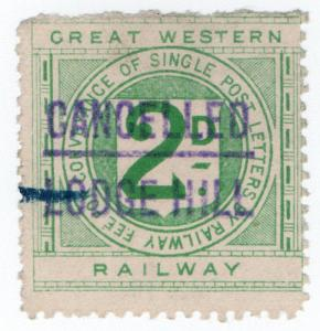 (I.B) Great Western Railway : Letter Stamp 2d (Lodge Hill)