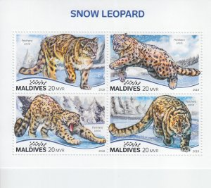 2019 Maldives Snow Leopard MS4 (Scott NA) MNH