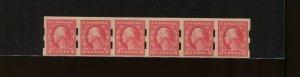 Scott 409 Var PINK BACK Schermack Type 3 Mint Strip of 6 Stamps NH (409-PB 1)