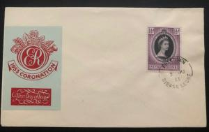 1953 Freetown Sierra Leone First Day Cover QE2 Queen Elizabeth coronation FDC