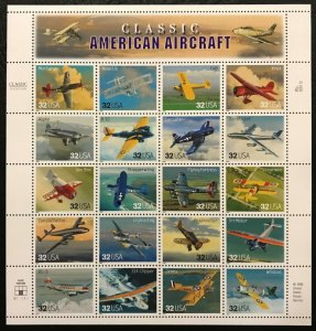 US #3142, 32c Aircraft, Sheet, VF mint never hinged, fresh   STOCK PHOTO