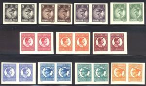 ROMANIA #369-79 Mint NH IMPERF Pairs - 1930 King Carol
