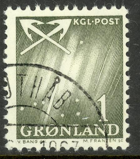 GREENLAND 1963-68 1o NORTHERN LIGHTS AND CROSSED ANCHORS Sc 48 VFU
