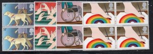Great Britain Sc 937-41 1981 Disabled Year stamp set blocks of 4 mint NH