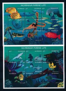 [38315] Nicaragua 1996 Marine Life Sharks Fish Octopus MNH 2 Sheets