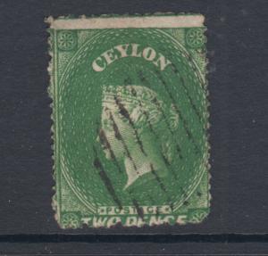 Ceylon SG 20b, Sc 18 used. 1861 2p yellowish green QV, intermediate Perf 14x15