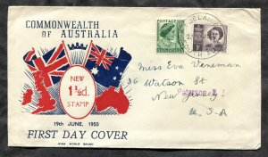 p411 - AUSTRALIA 1950 FDC COVER. Sent to USA