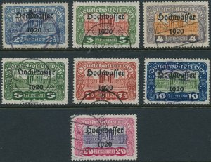 Stamp Austria SC B 43-49 1920 Buildings Vienna Government Overprint Used