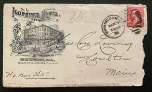 1896 Birmingham Al USA Advertising Florence Hotel Cover To Houlton ME