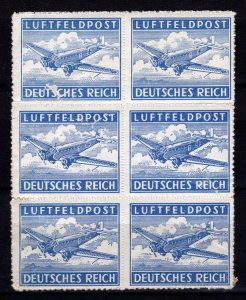 Germany 1942 Air Mail, Military Fieldpost (roulette), Block of 6 [Mint]
