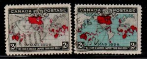Canada Sc 85-86 1898 Map stamp set used