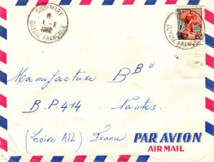 French Guiana France 25F Marianne and Ship of State 1962 Sinnamary, Guyane Fr...
