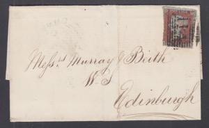 Great Britain Sc 3 on 1850 SFL, DUNDEE to EDINBURGH, 114 in black grid cancel