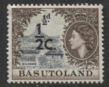 Basutoland -Scott 61-Surcharge New Value -1961-MNH -Single 1/2c on a 1/2d Stamp