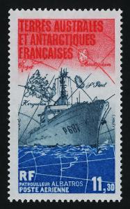 French Antarctic Territory C83 MNH Patrol Boat Albatros, Map