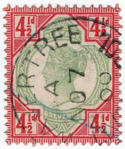 (I.B) QV Postal : 4½d Green & Red (SG 206) Wavertree - Liverpool