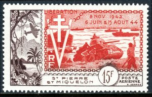 St Pierre & Miquelon C19,MNH.Liberation of France,10th anniv.Allied landing,1954