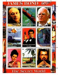 Congo 2001 James Bond Hollywood Movie Cinema 9v Mint Full Sheet. (L-16)