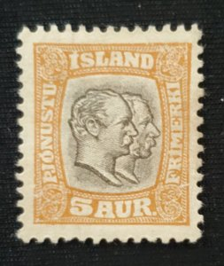 Iceland O33, 1907 Christan and Frederick, Unused, Cat. value - $15.00