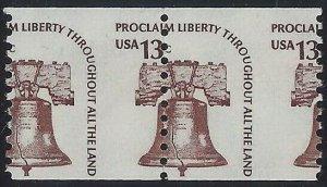 1618 - 13c Misperf Error / EFO Pair Liberty Bell Mint NH (Stk13)