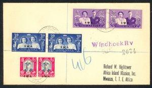 SOUTH WEST AFRICA 1947 KGVI ROYAL VISIT FDC Sc 156-158 Reg Cover WINDHOEK