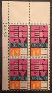 US Stamp Error #1547c Green Color Omitted Plate Block Of 4 Certificate CV$2800