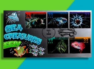 Big Bad Hungry Deep Sea Creature on Fold-Out FDC • Cachetoons Takes a Dive!