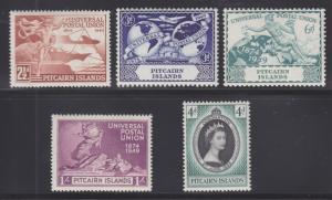 Pitcairn Islands Sc 13/19 MLH. 1949 UPU + 1953 Coronation, 2 cplt sets