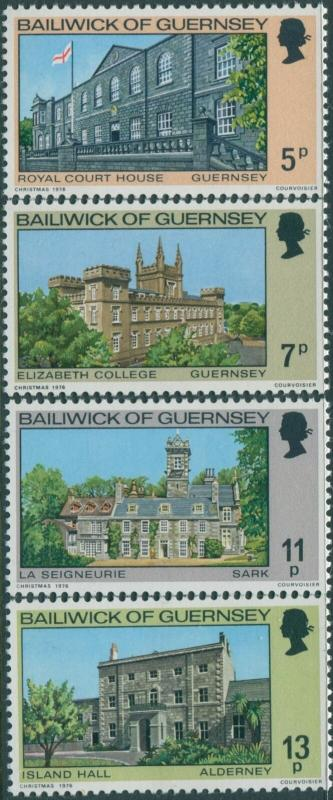 Guernsey MNH 141-4 Christmas Buildings 1976