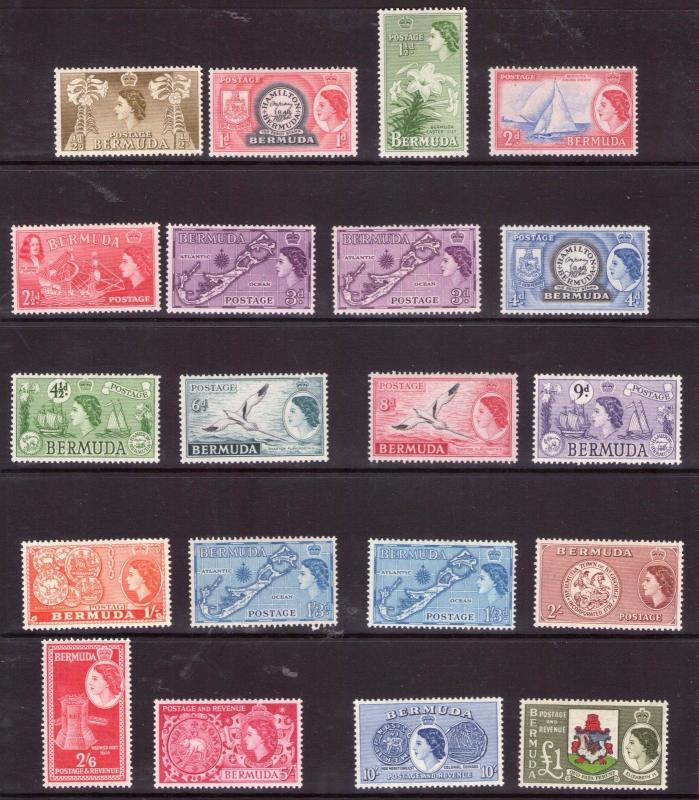 BERMUDA QE II 1953 set with varieties lightly higed