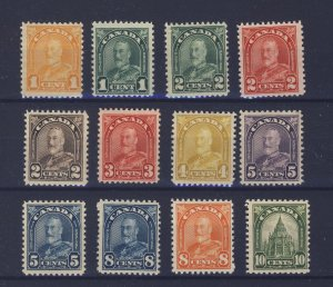 12x Canada George V Arch Mint Stamps #162 to #173 3x MNH 9x MH GV= $92.00