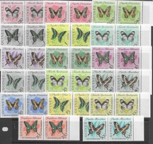 Guinea 291-304, C47-9 MNH cpl set in pairs, f-vf, see desc. 2020 CV $60.40