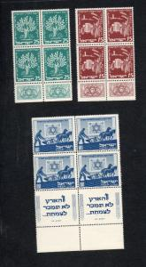 Israel Scott #48-50 JNF (KKL) Tab Blocks MNH!!