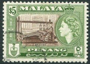 PENANG-1957 $5 Brown & Bronze-Green Sg 54 FINE USED V42826