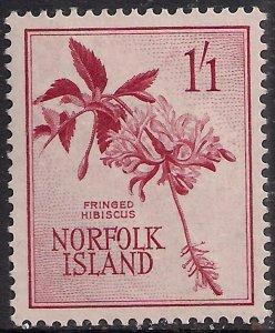 Norfolk Island 1960 - 62 QE2 1/-1d Hibiscus flower MM SG 31 ( G1036 )