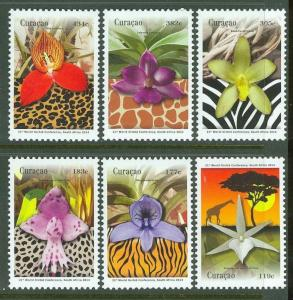 CURACAO 2014  ORCHIDS  SET OF SIX  MINT NH