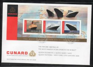 Isle of Man Sc 1239 2008 Cunard Ocean Liners stamp sheet on FDC