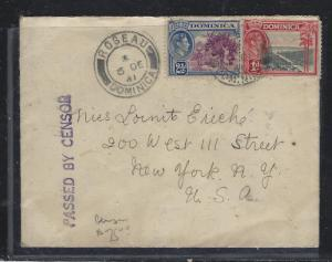 DOMINICA (P1609B) 1941 KGVI 1D+ 2 1/2D CENSORED COVER TO USA