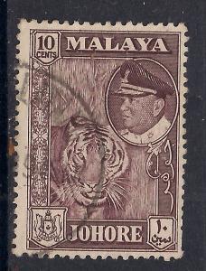 Malaya Johore 1960 10ct used stamp SG 160 ( E899 )
