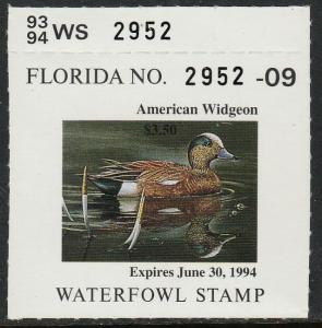 U.S.-FLORIDA 15, STATE DUCK HUNTING PERMIT STAMP WITH SMALL TAB. MINT, NH. VF