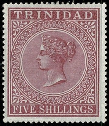 TRINIDAD QV 1883-94 5/- MAROON UNUSED(MH) SG113 Wmk.CROWN CC P14 VGC