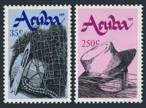 Aruba 73-74,MNH.Michel 95-96. Handicraft 1991:Fish net,wood float,