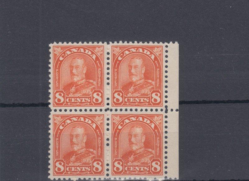 #172 SUPERB ** MARGING BLOCK OF 4 8 cent arch issue orange Canada mint Cat $80+