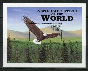 LIBERIA  WILDLIFE ATLAS OF THE WORLD NORTH AMERICAN ANIMALS S/SHEET  MINT NH