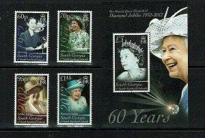 South Georgia: 2012,Queen Elizabeth, Diamond Jubilee,  MNH set + Miniature sheet