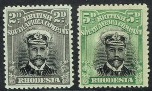 RHODESIA 1913 KGV ADMIRAL 2D AND 5D DIE I PERF 14