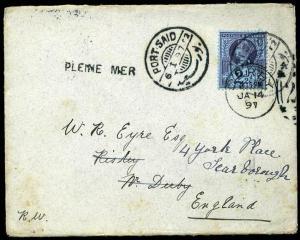 GB USED ABROAD 1897 SG201 2½d PORT SAID to Derby Pleine Mer'