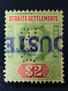 Malaya Straits Settlements 1909 KE VII $2 MCCA PERFIN SG#166 M2063