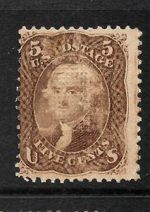 US 1861-66  5c  JEFFERSON    MLH  GRILL  Sc 95