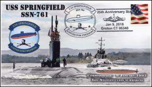 18-001, 2018, USS Springfield, SSN-761, Pictorial, Event cover, Lincoln